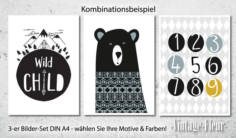 Drucke & Plakate - 3-er Set Kinderzimmer Poster A4 Skandinawisch ...