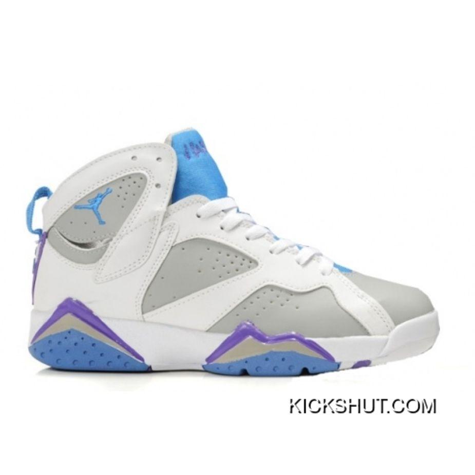 3b011782df0a Women Air Jordan Retro 7 Shoes White Blue Grey New Year Deals