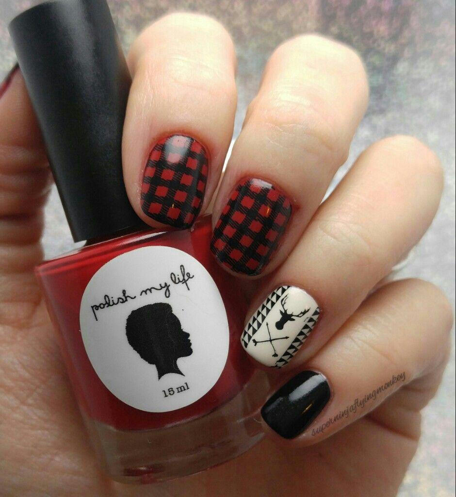 Buffalo plaid and Deer/Hunter nails using Polish My Life and ...