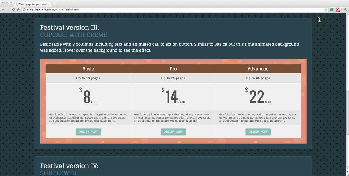 Set Of Responsive Pricing Tables. Animations. + Bo