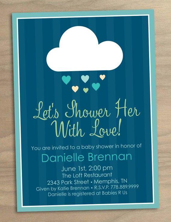 21993f006 Baby Shower or Bridal Shower Invitation Shower Her with Love Blue Rain Cloud  - Digital Printable File
