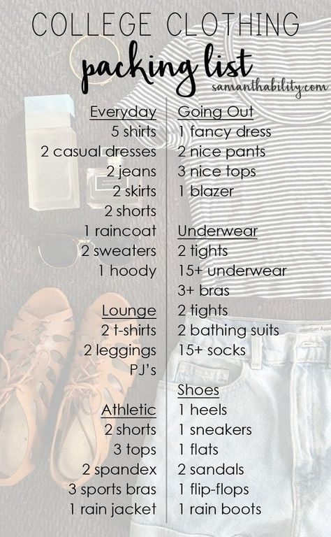 College Clothing Packing List College and Dorm - checklists boosting efficiency reducing mistakes