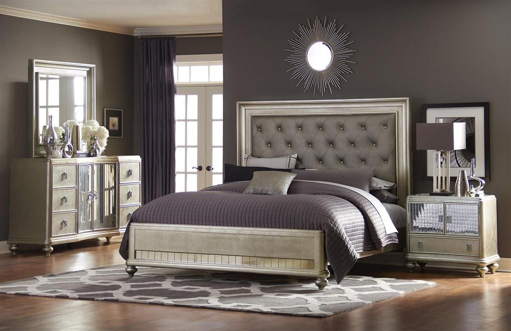 Home Meridian Contemporary Platinum Bedroom Collection