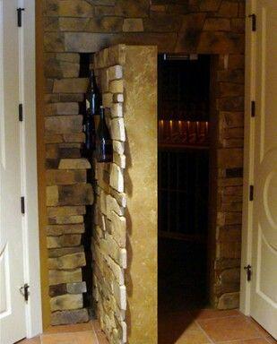 Stone Wall Door Hidden Rooms Tall Cabinet Storage Stone Wall