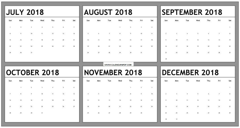 October November December 2018 Blank Calendar October 2018