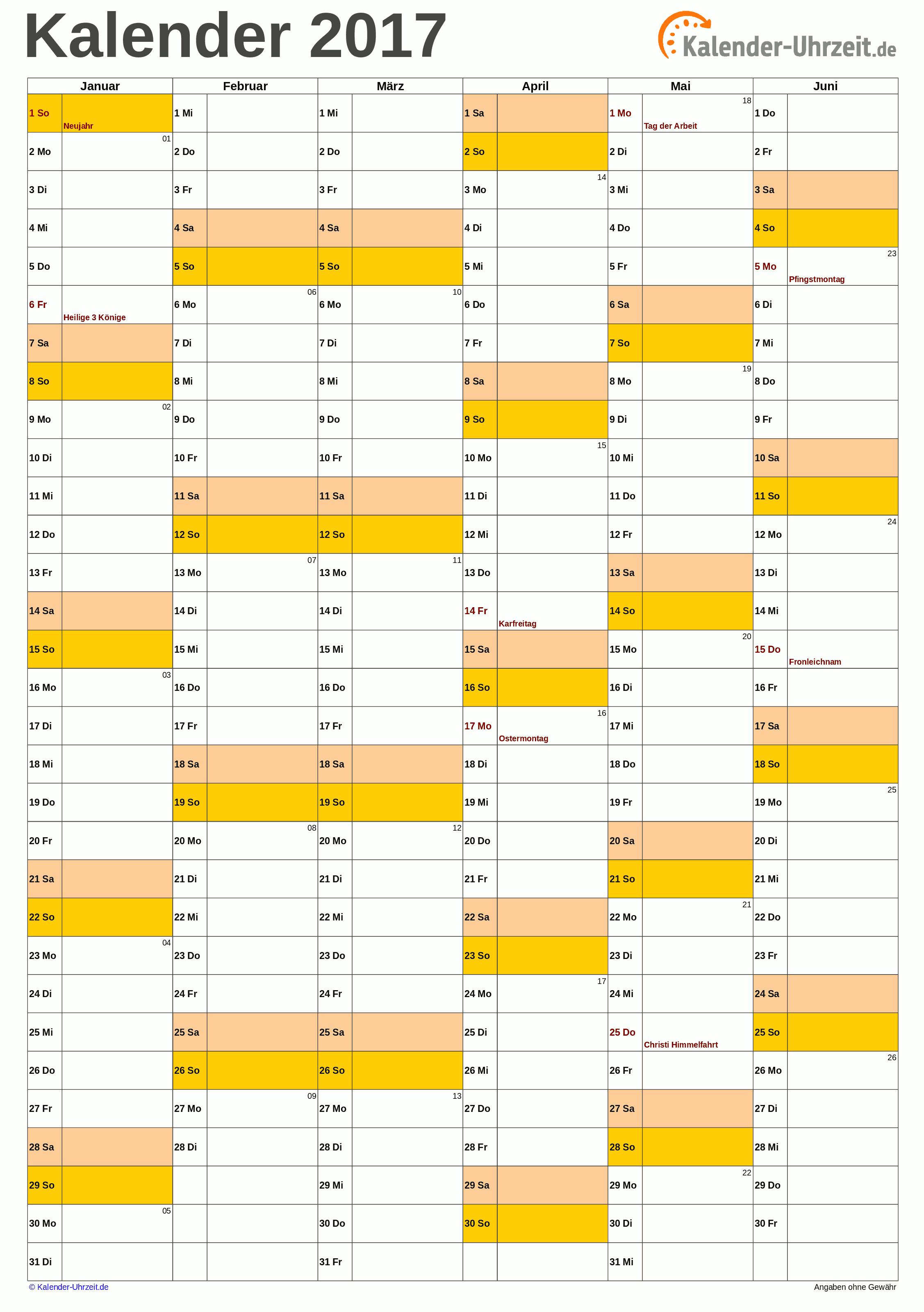 Halbjahreskalender 2017 A4-Hochformat. #KalUhr Weitere Kalender ...