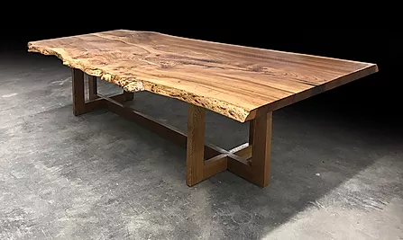 Trestle Live Edge Dining Table Made From Reclaimed Wood Slabs In