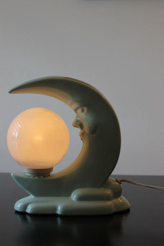 Vintage Moon Night Light Night Lamp Table Lamp Mid Century Sixties Mint Green 1960s 60s Lamp Night Lamps Vintage Moon