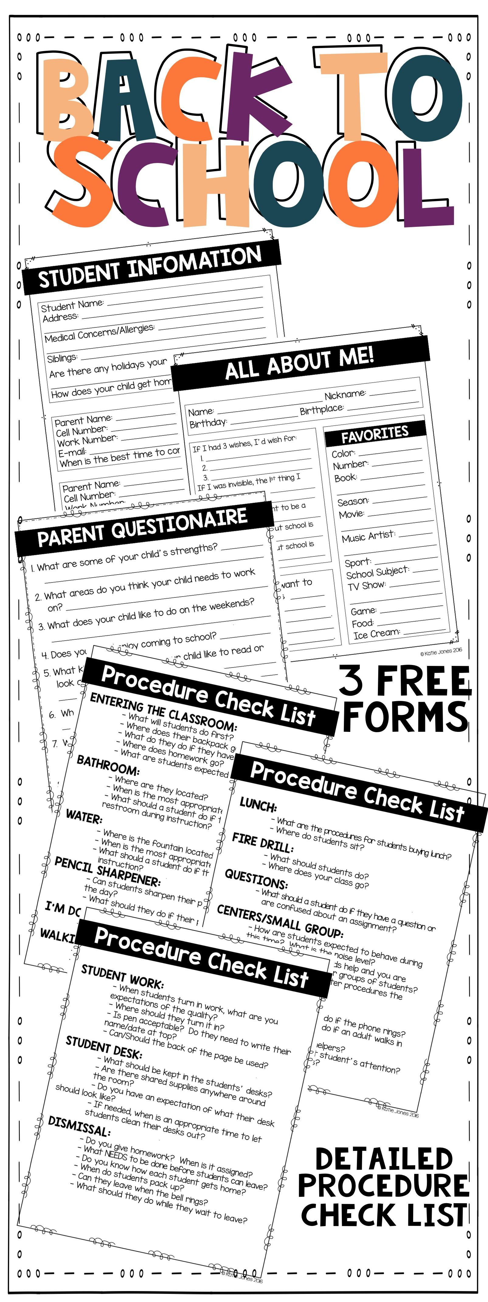 Back To School Forms And Procedure Check List