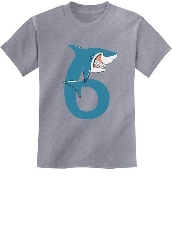 6th Birthday Shark Party Gift For 6 Years Old Youth Kids T Shirt