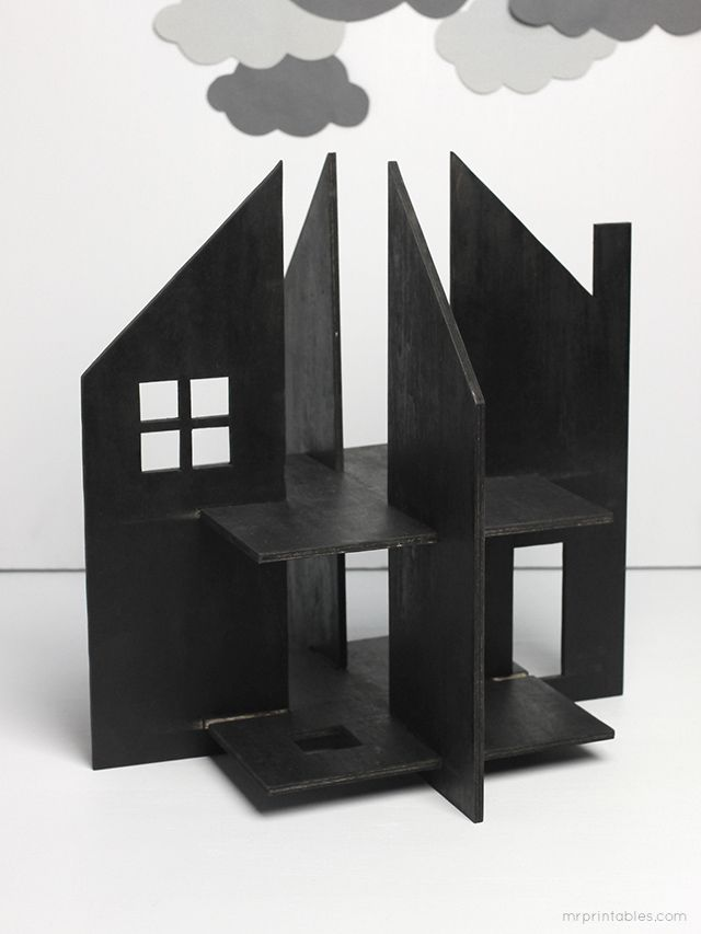 Haunted dolls house free templates for cardboard or for How to make a cardboard haunted house