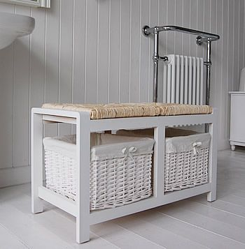 Side Image Of The White Bathroom Storage Bench With Baskets
