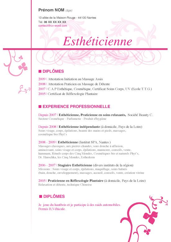 exemple de cv cap alternance esthetique