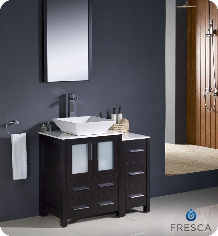Fresca 36 Espresso Vessel Sink Bath Vanity Side Cabinet Mirror Faucet