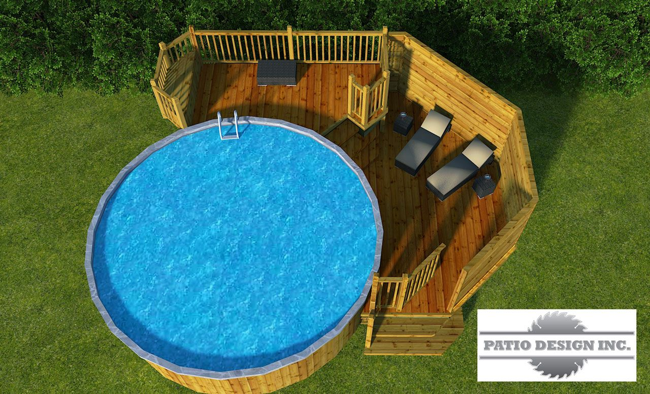Patio avec piscine hors terre patio and backyard for Piscine hors terre design