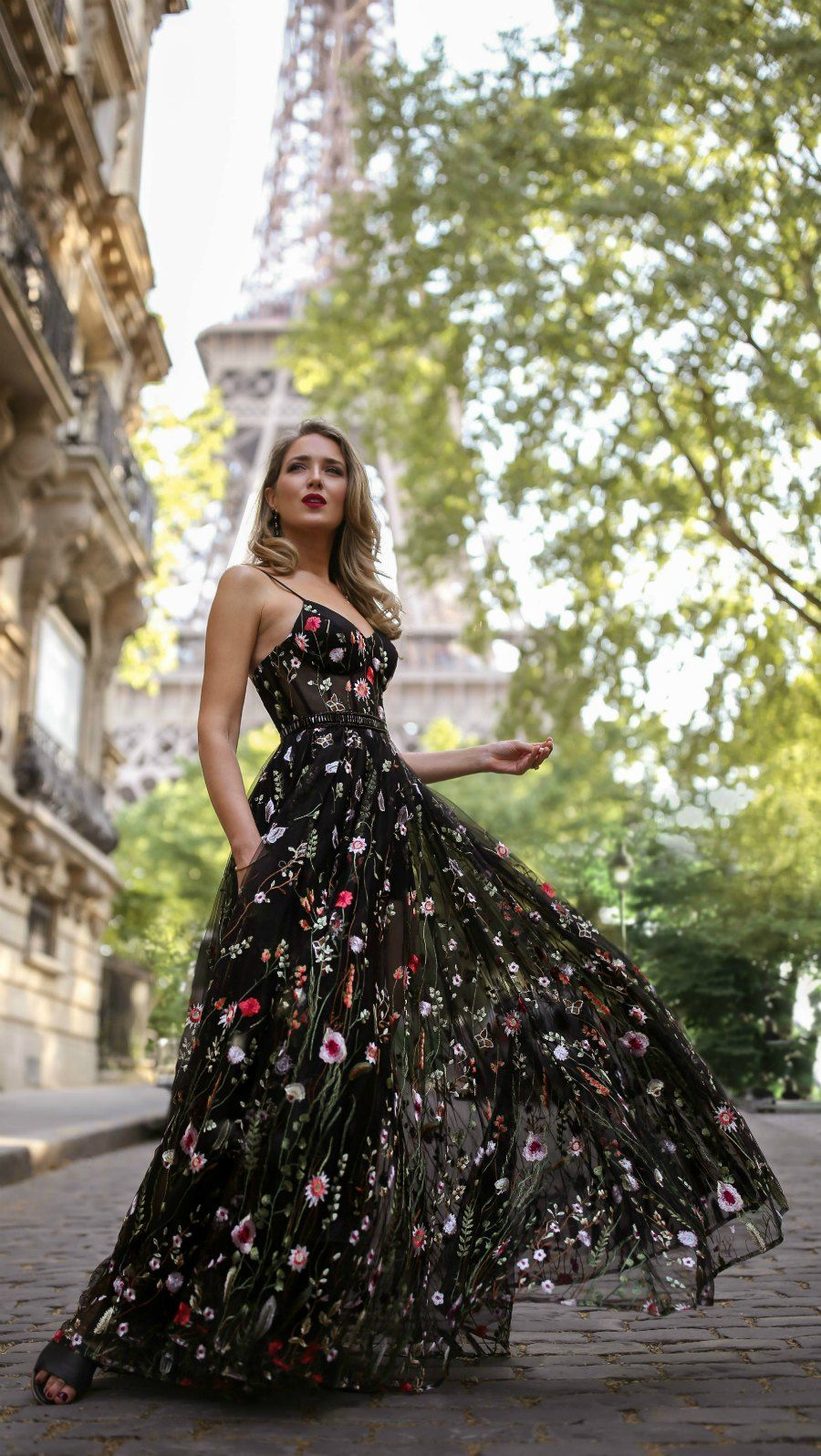 30 Dresses In 30 Days Day 12 Black Tie Wedding Long Black Floral Embellished Spaghetti Strap Dress With B Elegant Dresses Pretty Dresses Gorgeous Dresses [ 1596 x 900 Pixel ]
