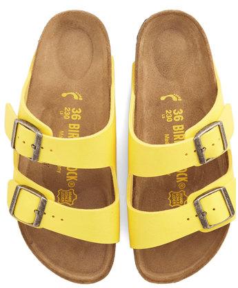 #yellow leather Birkenstock sandals http://rstyle.me/n/hutker9te
