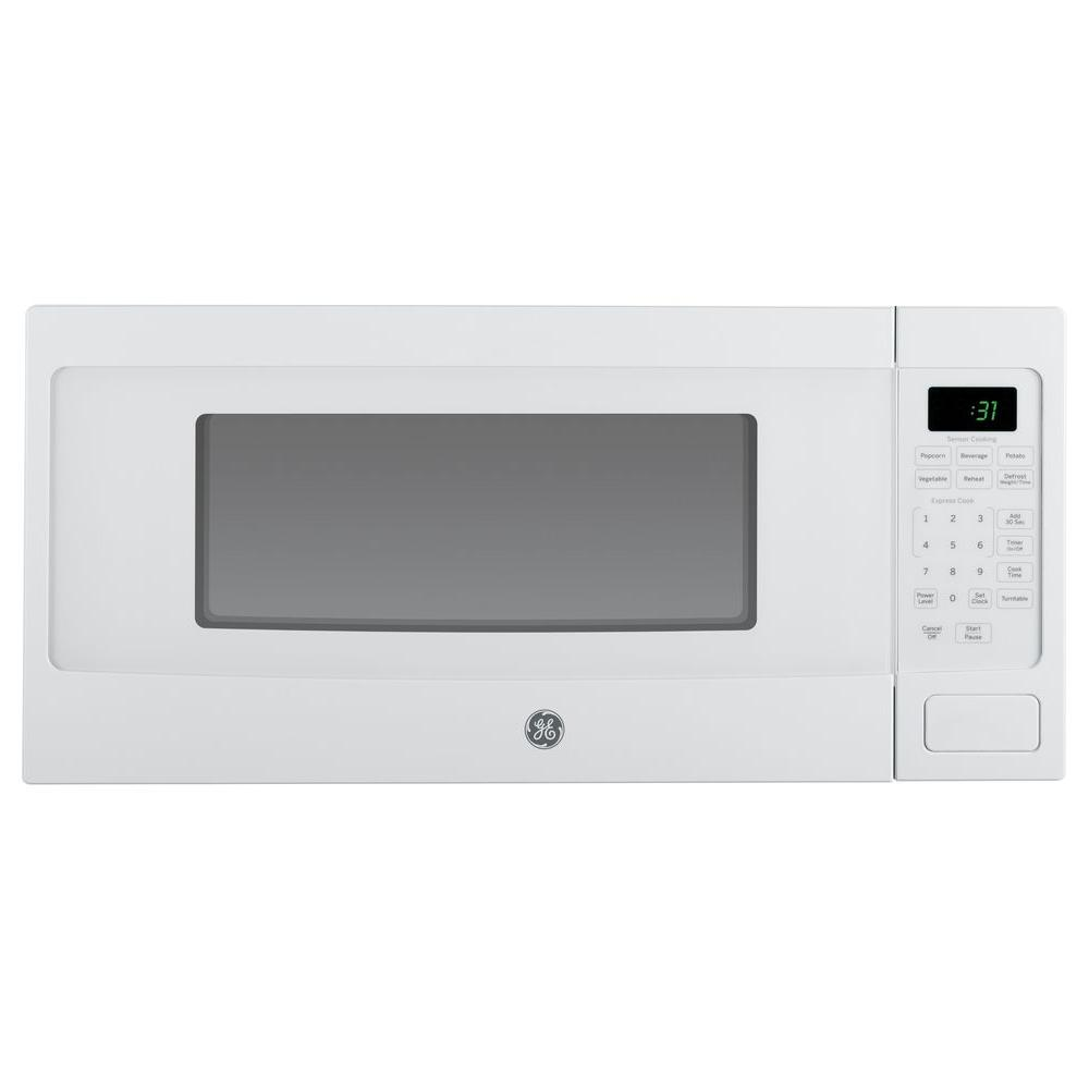 Ge Profile 1 1 Cu Ft Countertop Microwave In White With Sensor