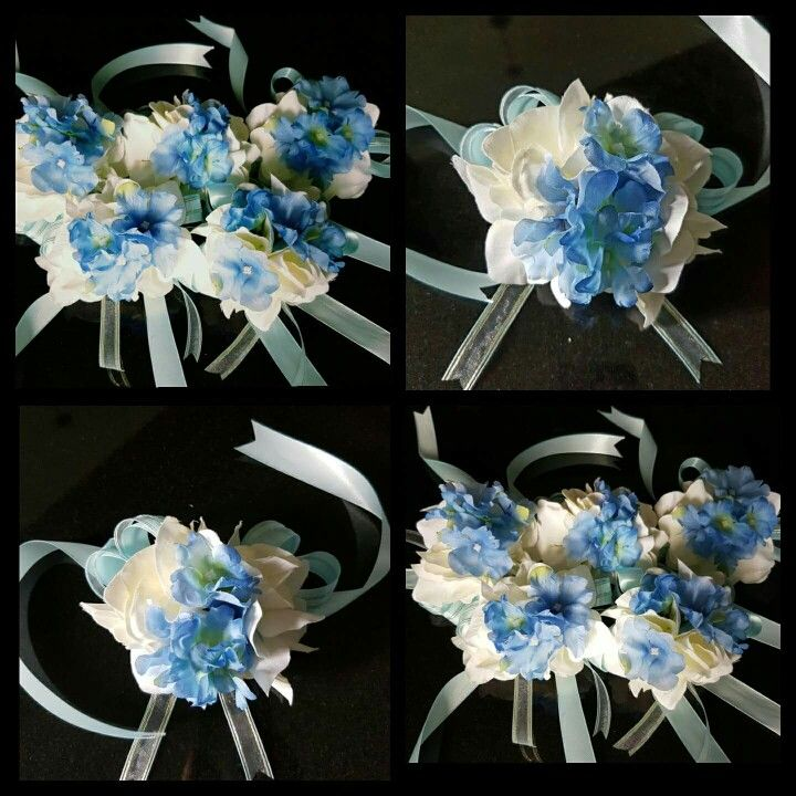 Hydrangea Macrophylla Wedding Gown: White And Blue Hydrangeas Wrist Corsage- Handcrafted