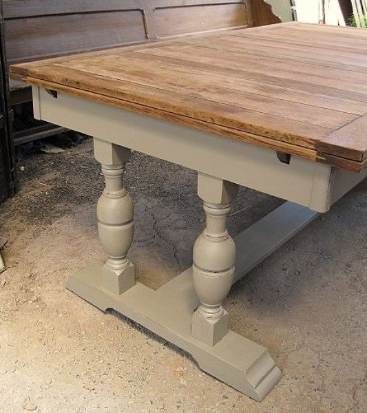 Vintage Oak Dining Table Base Painted A Version Of Gray Dining