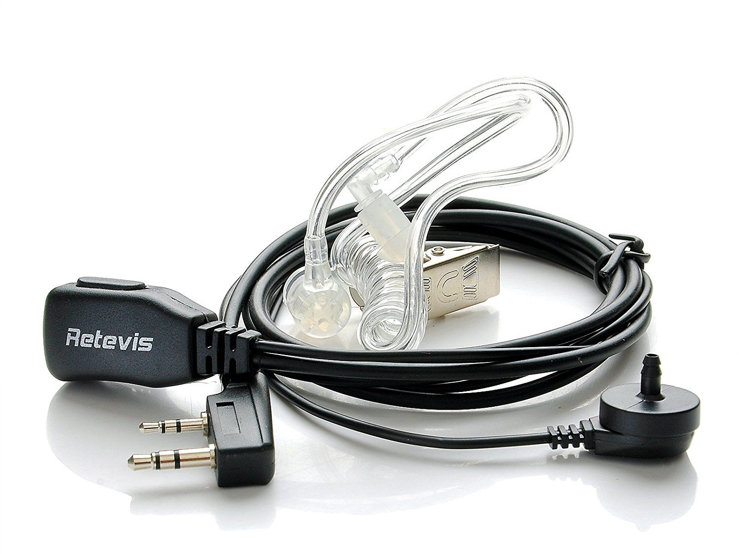 3 wire Covert Acoustic Earphone PTT Mic 2 Pin For KENWOOD Baofeng Two Way Radio