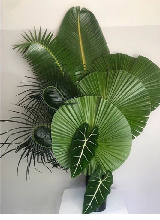 Tropical Leaf Arrangement Leafarrangement Tropicaldecor Palmfrond Tropical Flower Arrangements Tropical Floral Arrangements Large Flower Arrangements Choose your favorite tropical leaves paintings from millions of available designs. pinterest
