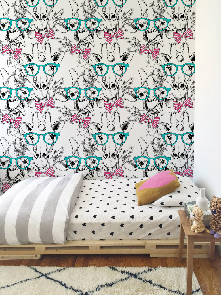 Goofy Giraffe Removable Wallpaper It S A Very Good Quality Matte Material Its Structure Reminds Of A Kids Room Wallpaper Kids Room Wall Decals Kids Room Wall