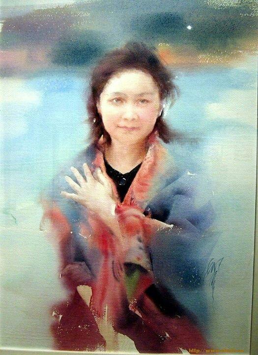 Watercolor By Liu Yi China Watercolor Portraits Watercolor