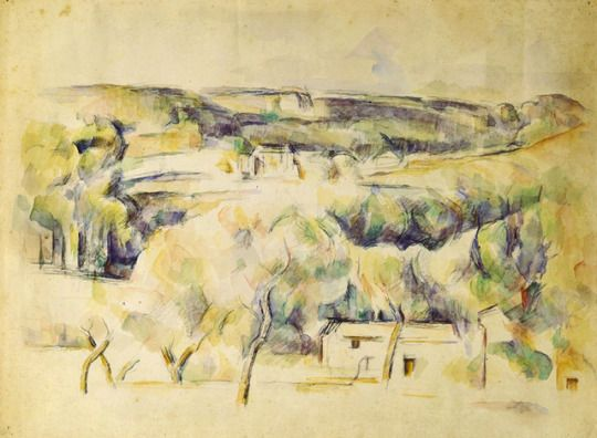 Paul Cézanne (1839-1906), Paysage Provençal, 1900-04.  pencil and watercolor on paper