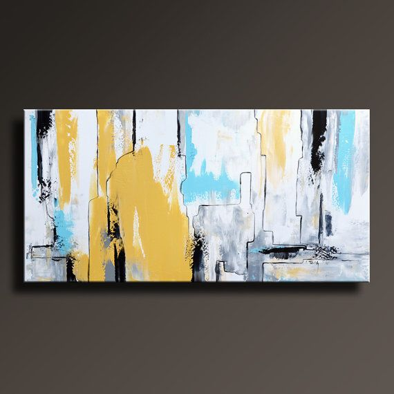 Abstract Painting Yellow Gray White Black Blue Painting Original