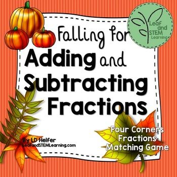 """""""Fall"""" into fraction operations with this FREE math center activity that has student interpret fall themed word problems to add and subtract fractions with unlike denominators.  Students read fraction and mixed number word problems and use model cards and least common denominators to calculate their answer."""