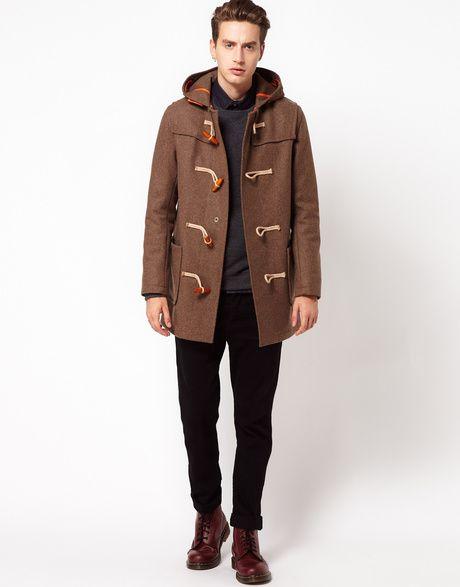 Men's Brown Duffle Coat, Charcoal Crew-neck Sweater, Black Long ...