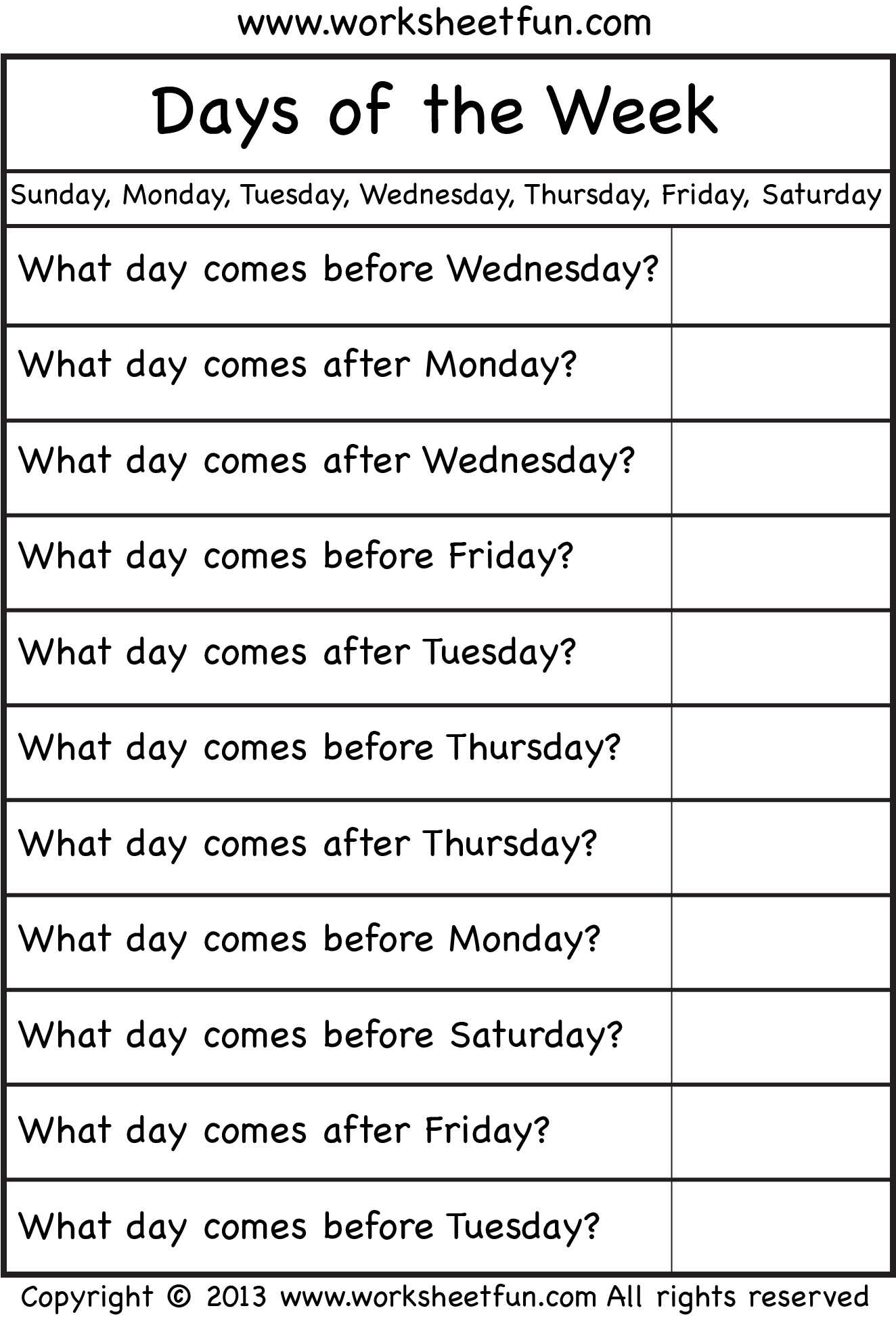 Days Of The Week With Images