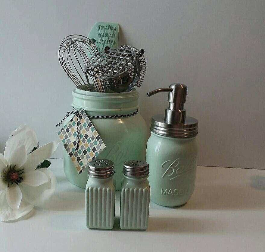 Mint Green Rustic Kitchen Utensils Holder Farmhouse Mason Jar Etsy Rustic Kitchen Canisters Kitchen Utensil Holder Wedding Gift Set