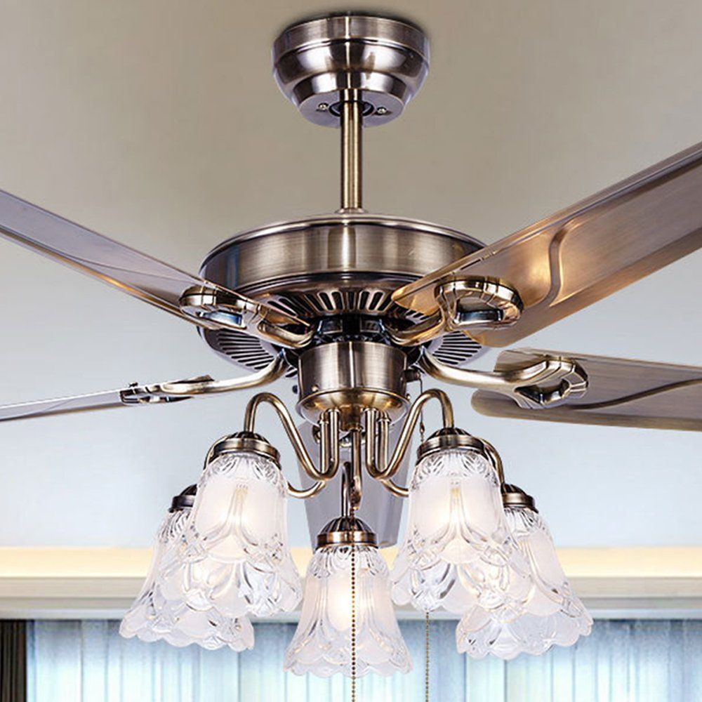 Tropicalfan Modern Ceiling Fan 5 Light Cover With Remote