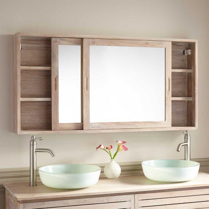 Whitewash Empty Bathroom Mirror