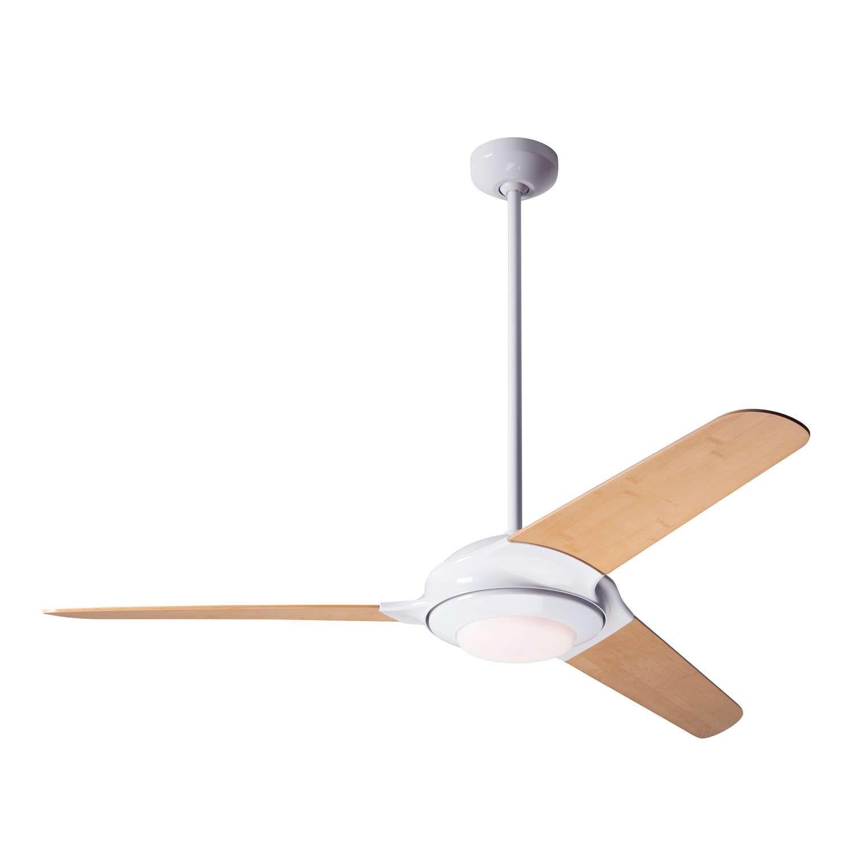 Gloss White Fan Body Bamboo Fan Blades LED Light Kit