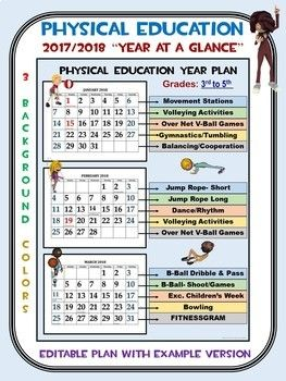 Physical Education 20172018 Year At A Glance Editable Plan