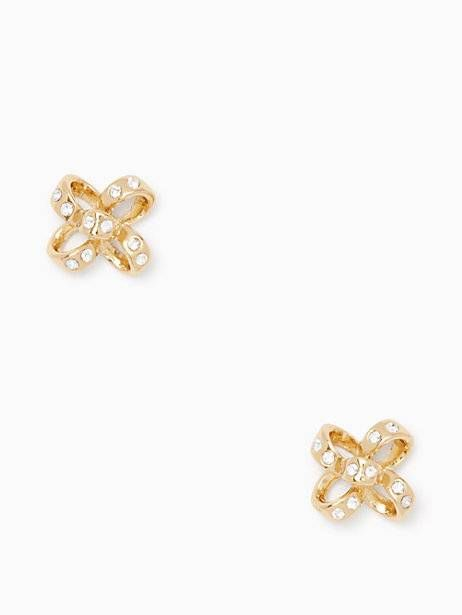 it's a tie bow studs, clear/gold