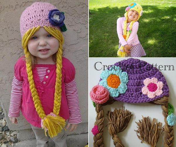 Gorros Crochet Rapunzel Character Hat with Long Braids | Proyectos ...