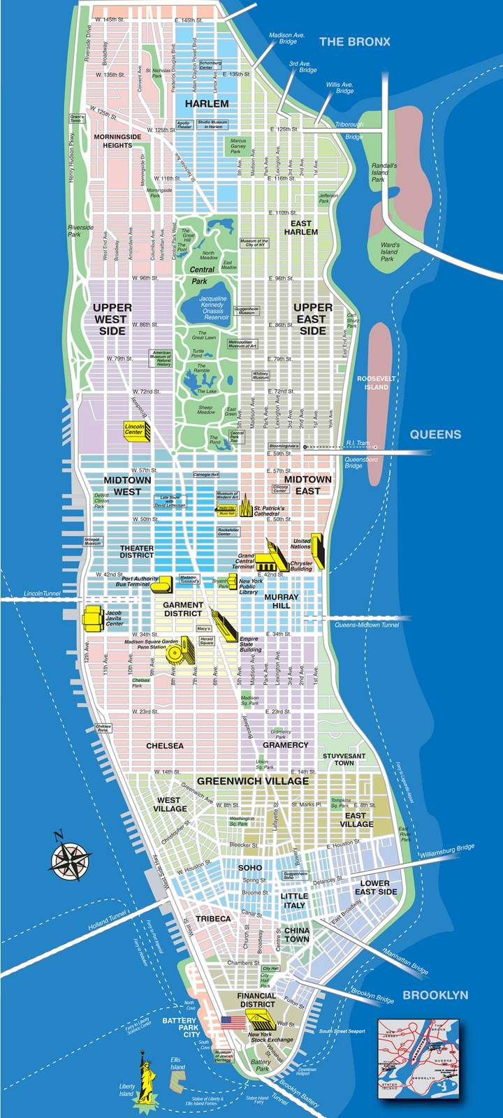 High-resolution map of Manhattan for print or download | USA Travel ...