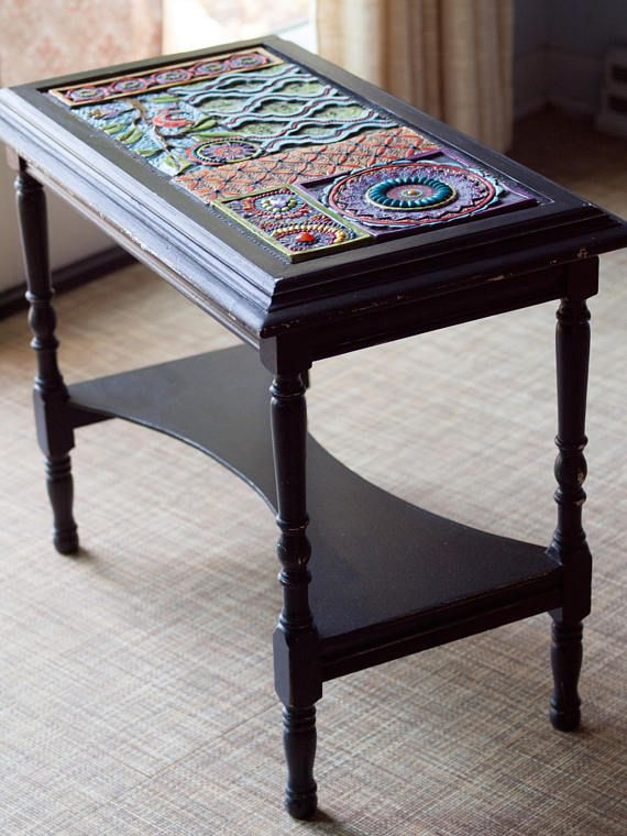 Beau End Table Mosaic Side Table Boho End Table Black Accent Table