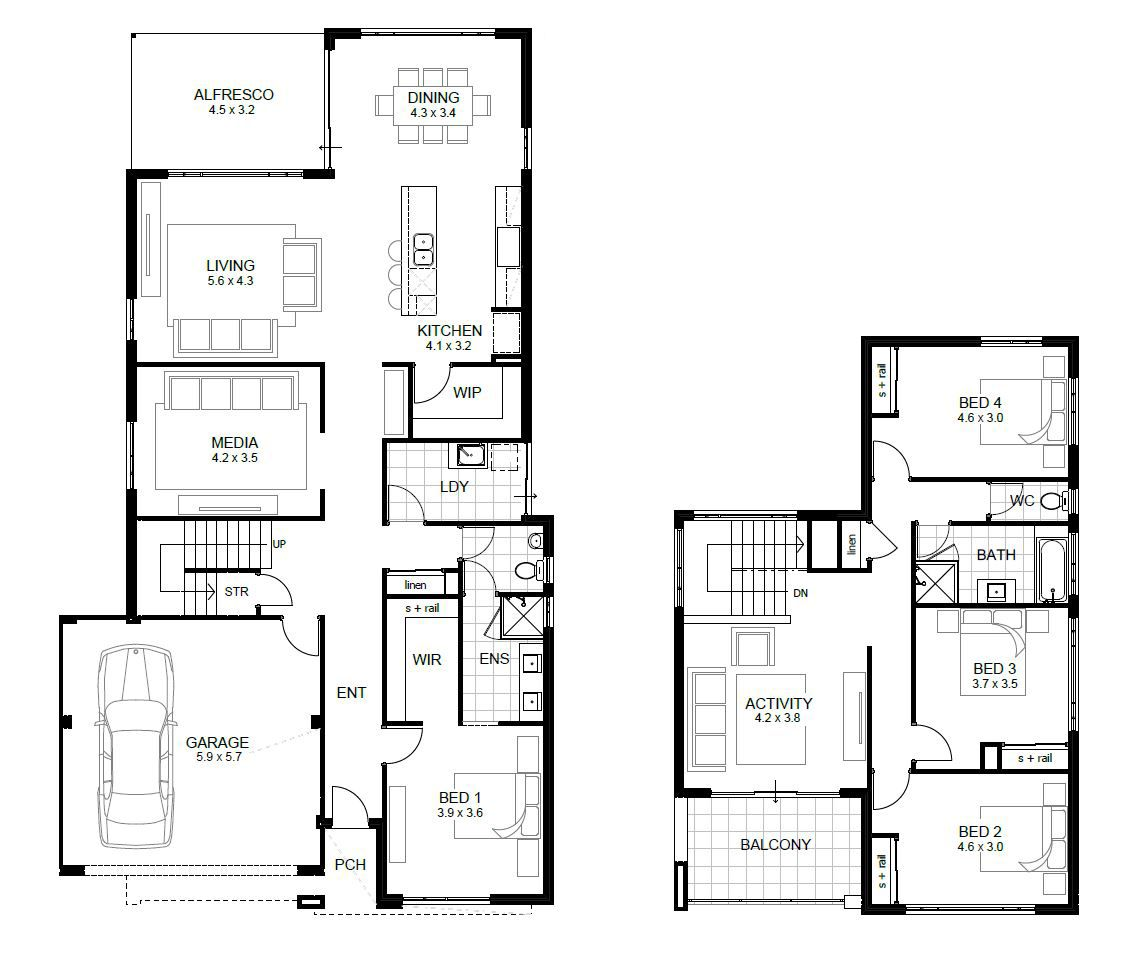 Four Bedroom House Plans With Media Roomg One Story Homes