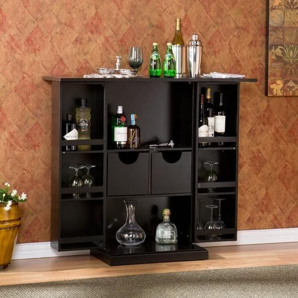 Foldaway Liquor Cabinet Modern Home Bar Pub Wine Bottle Storage