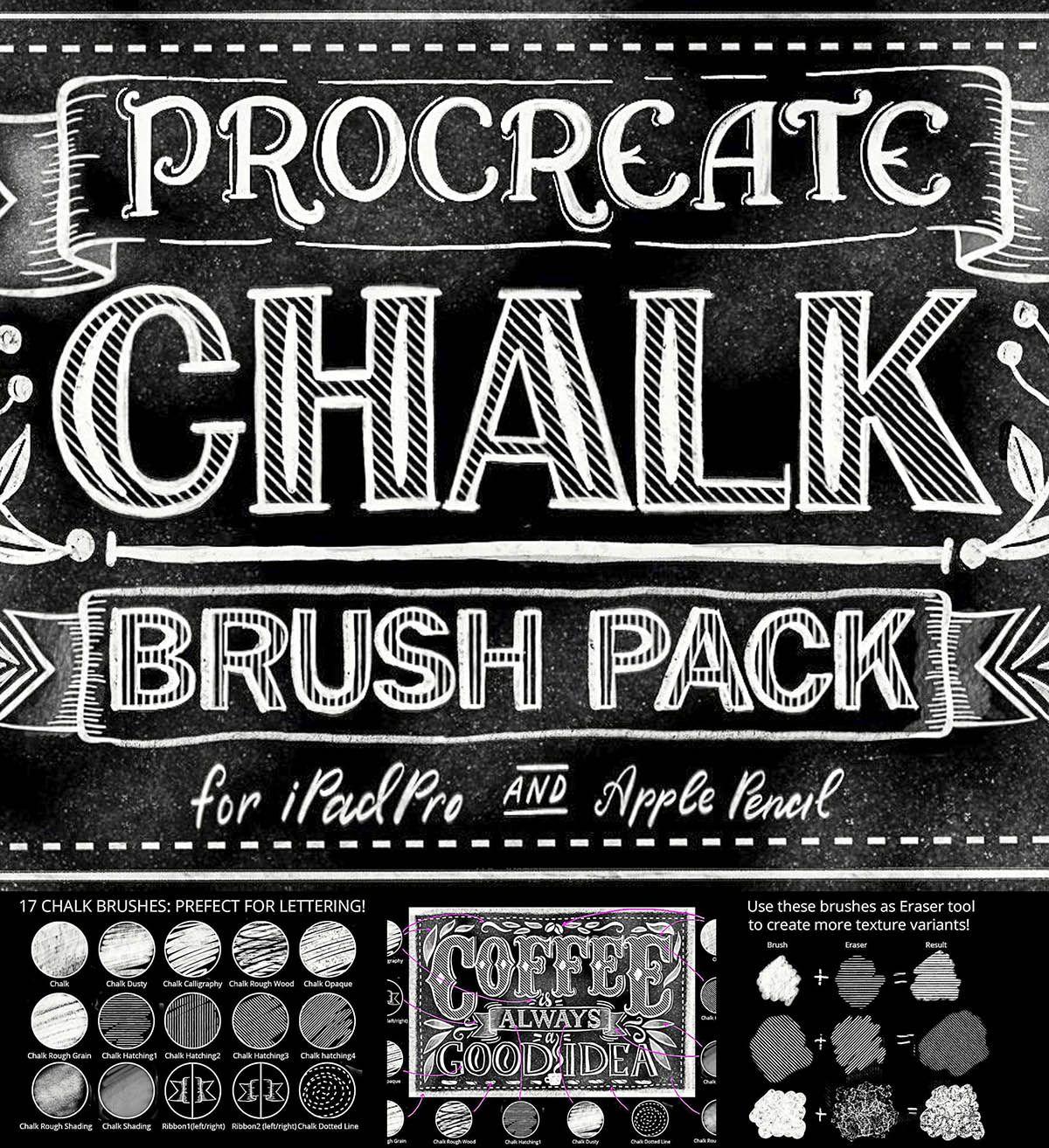 Procreate Lettering Brush Pack Chalk Lettering Lettering Hand