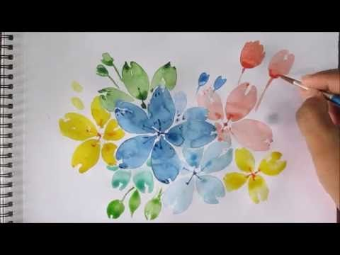 Easy Watercolor Painting For Beginners Flower Speed