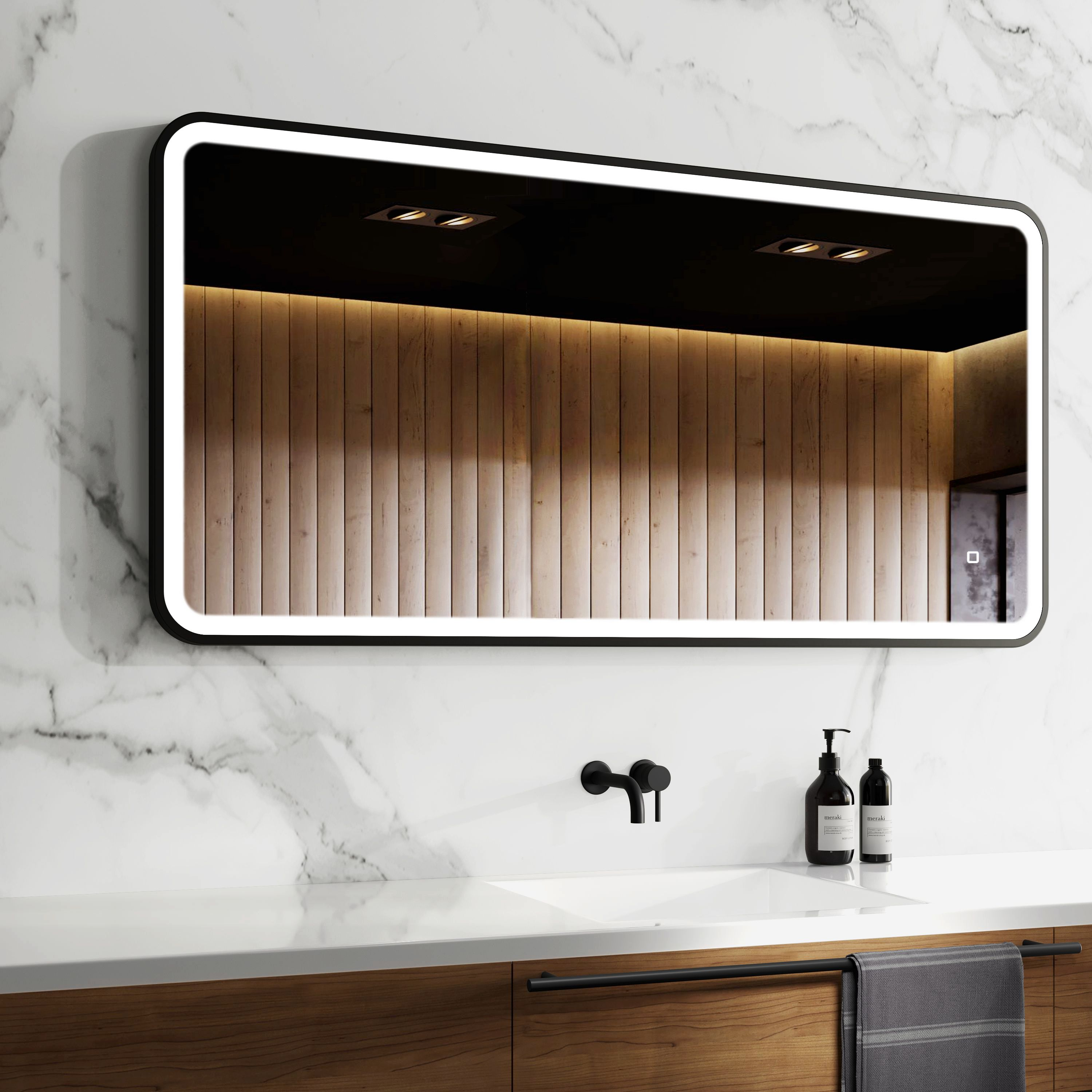 Arabella Black Framed Illuminated Led Mirror 600x1200mm In 2020 Led Mirror Mirror Cabinets Stylish Bathroom