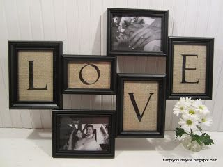Burlap Wood Love Frame Collage Art Collage Wall Burlap Crafts