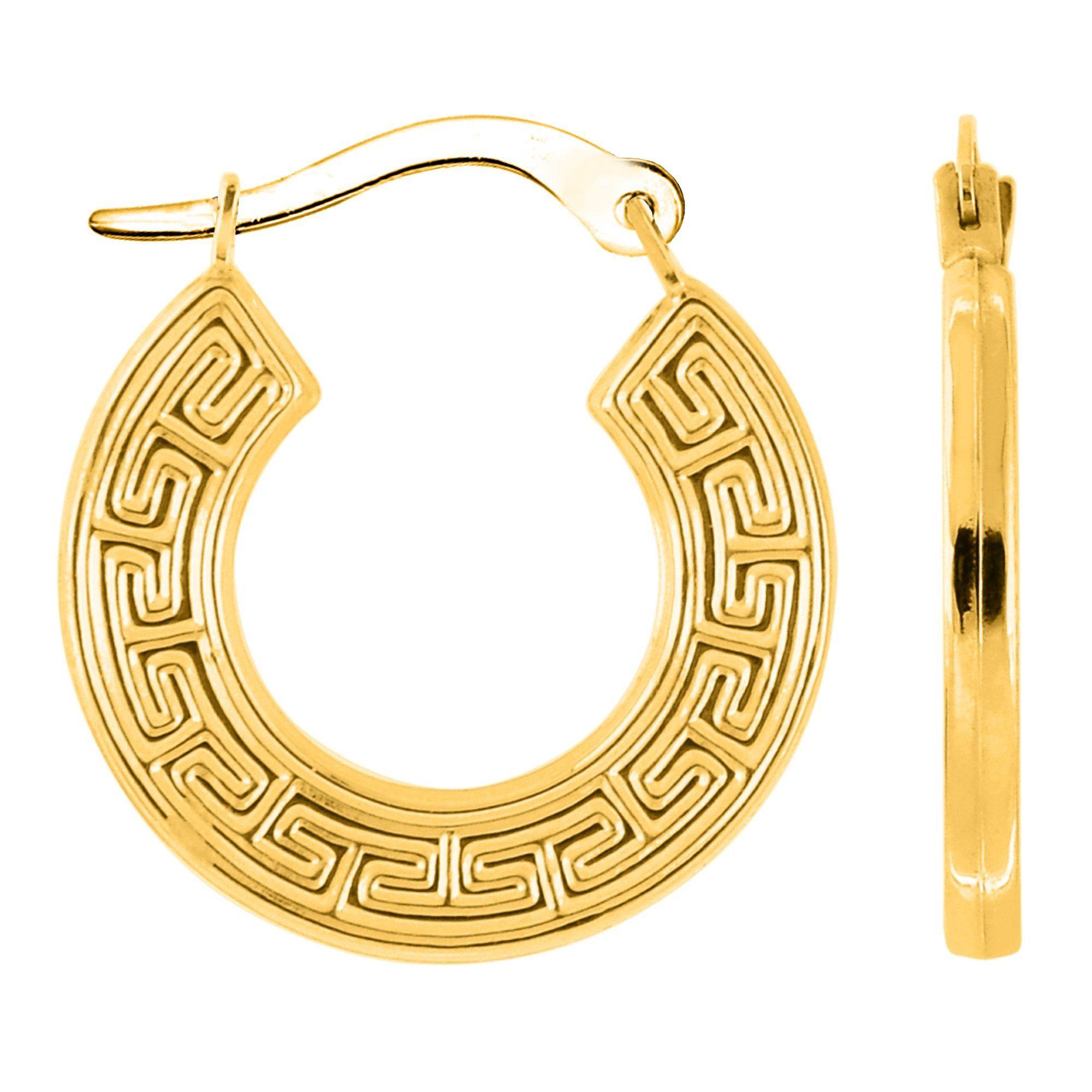 Diameter 15mm 14K Yellow Gold Round Greek Key Hoop Earrings