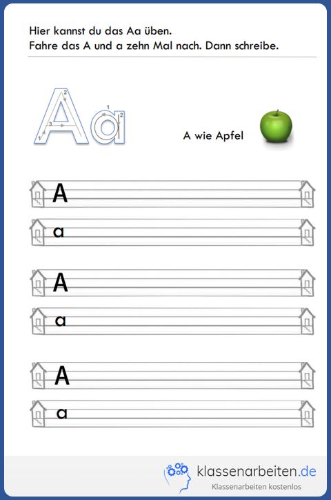 Mit diesem Übungsblatt für die 1. Klasse lernt ihr Kind den Buchstaben Aa und…
